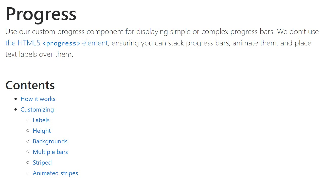 Bootstrap progress bar  authoritative documentation