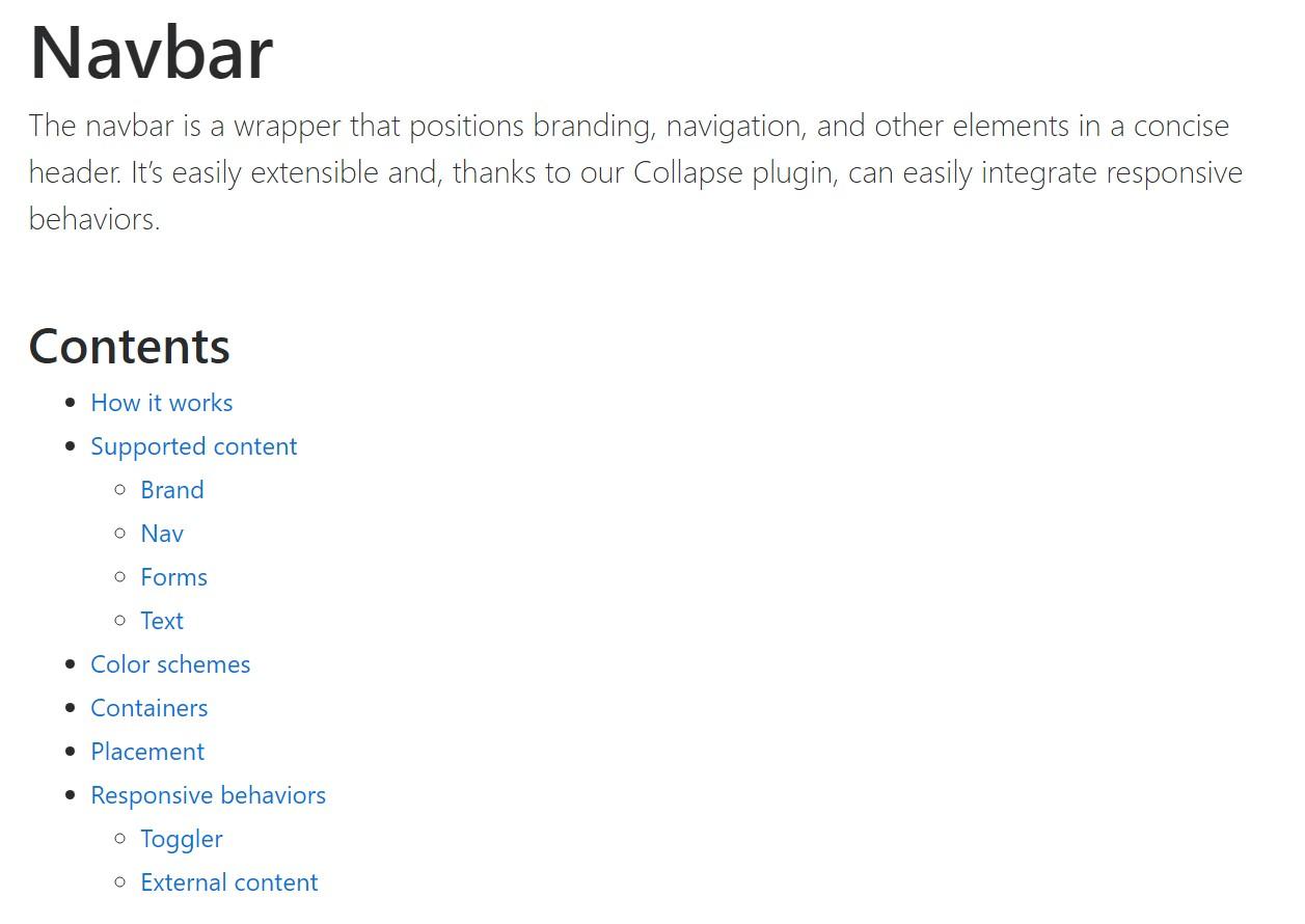 Bootstrap Navbar  authoritative  documents