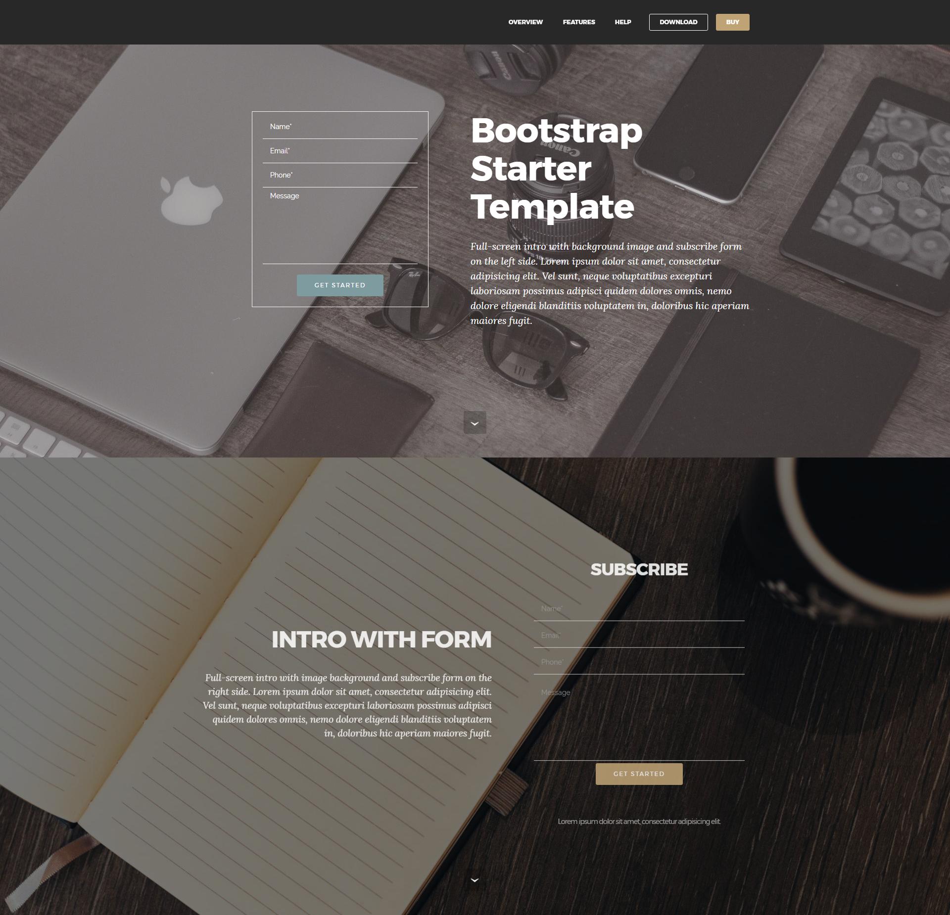 Responsive Bootstrap Starter Templates