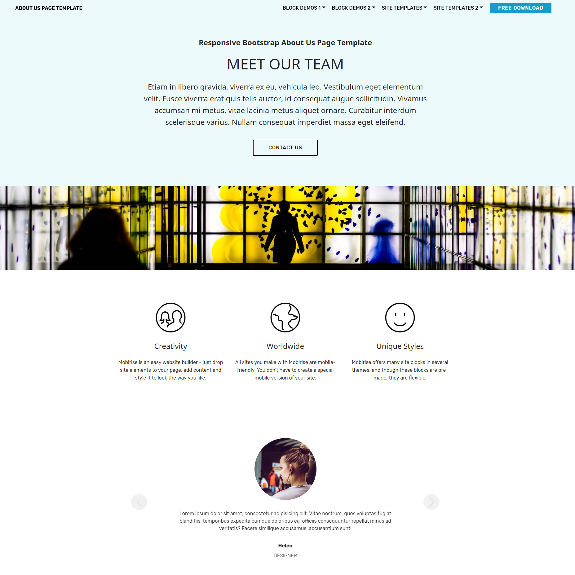Free Bootstrap About Us Themes