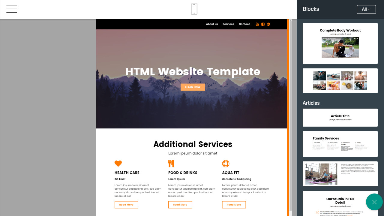 First Class Mobile Website Template Overview